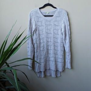 Gianni Bini Metallic Gray Knit Tunic Sweater sz M